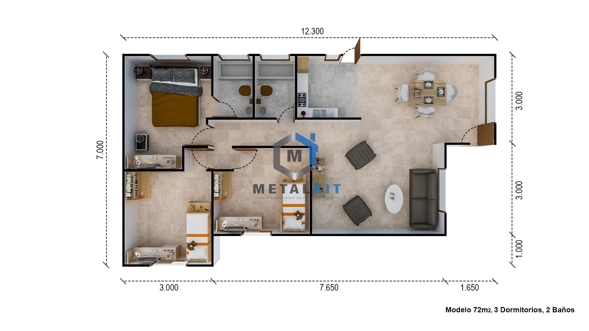 Cf casas prefabricadas casas modulares metalcom y madera for Cuarto de 6 metros cuadrados